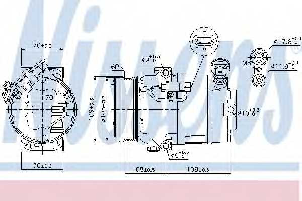 Компрессор кондиционера для OPEL ASTRA(L08,L35,L48,L69,L70) <b>NISSENS 89096</b> - изображение