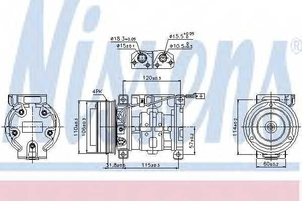 Компрессор кондиционера для SUZUKI GRAND VITARA(FT,JT), LIANA(ER) <b>NISSENS 89099</b> - изображение