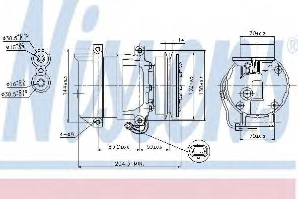 Компрессор кондиционера для DAEWOO LANOS(KLAT) / ZAZ CHANCE, SENS <b>NISSENS 89108</b> - изображение