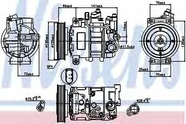 Компрессор кондиционера для AUDI A6(4GC, 4GD, 4GJ, C6, C7,4F2,4F5,4G2,4G5,4GH), A7(4GF,4GA) <b>NISSENS 89111</b> - изображение