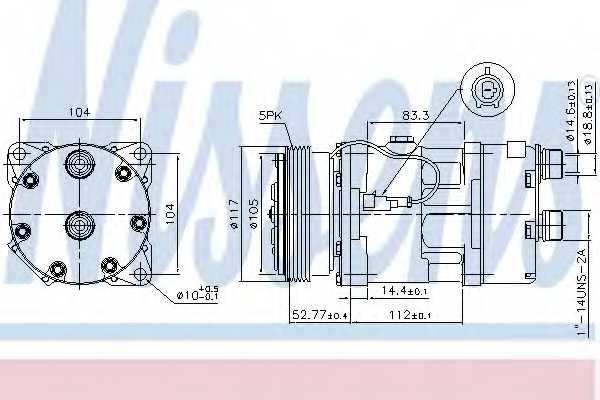 Компрессор кондиционера для CITROEN JUMPER(230,230L,230P) / FIAT DUCATO(230,230L) / PEUGEOT BOXER(230L,230P,ZCT#) <b>NISSENS 89123</b> - изображение