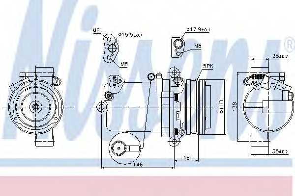 Компрессор кондиционера для BMW 3(E46), 5(E39), Z3(E36) <b>NISSENS 89133</b> - изображение