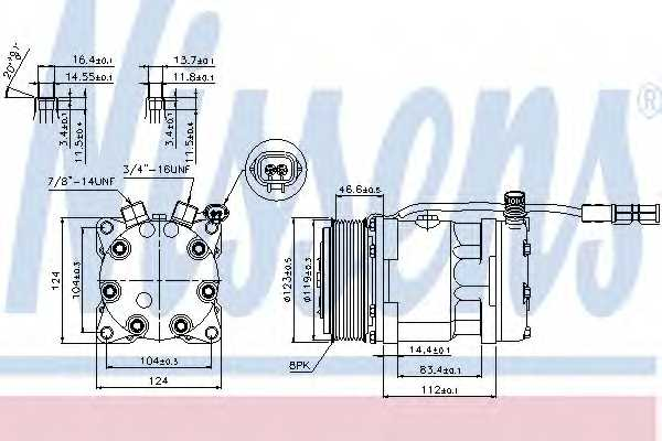 Компрессор кондиционера для MAN TGA, TGS, TGX <b>NISSENS 89139</b> - изображение
