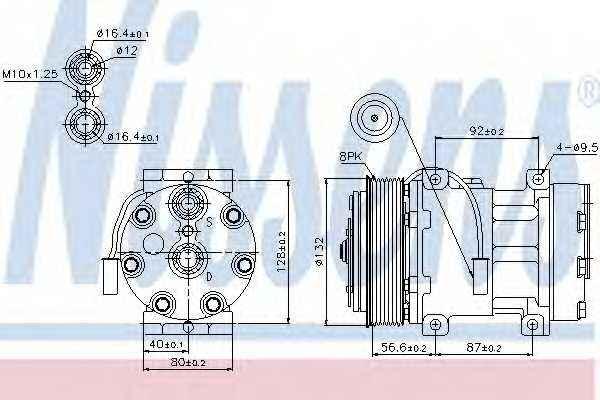 Компрессор кондиционера для RENAULT TRUCKS Magnum <b>NISSENS 89140</b> - изображение