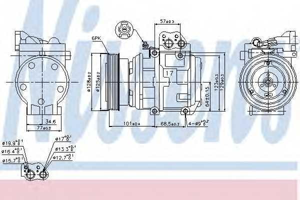 Компрессор кондиционера для HYUNDAI TUCSON(JM) / KIA SPORTAGE(KM#,JE#) <b>NISSENS 89153</b> - изображение