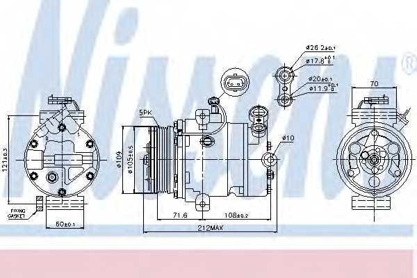 Компрессор кондиционера для OPEL ASTRA(F08#, F07#, F35#, F48#, F67, F69#, F70) <b>NISSENS 89196</b> - изображение
