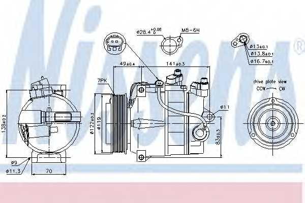 Компрессор кондиционера для MERCEDES C, CLK, CLS, E, GLK, SLK <b>NISSENS 89200</b> - изображение