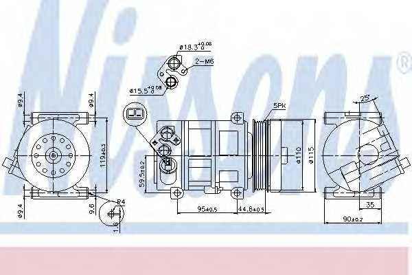 Компрессор кондиционера для FIAT DOBLO(152,263,263#), FIORINO(225), LINEA(323), PUNTO(199), QUBO(225) / OPEL COMBO(X12) <b>NISSENS 89202</b> - изображение