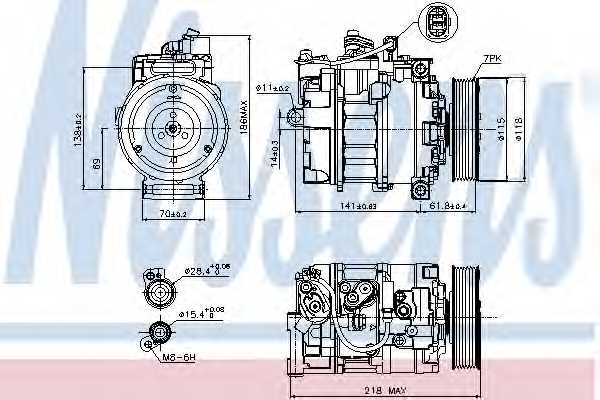 Компрессор кондиционера для AUDI A8(4E#) / VW PHAETON(3D#) <b>NISSENS 89210</b> - изображение