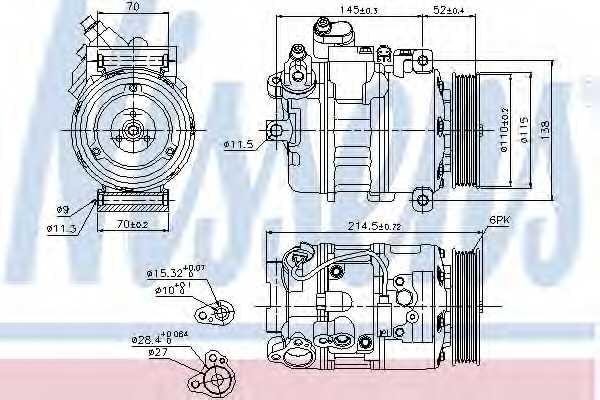Компрессор кондиционера для BMW 5(E60,E61), 6(E63,E64), 7(E66, E67,E65), Z4(E89) <b>NISSENS 89214</b> - изображение