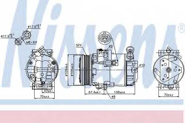 Компрессор кондиционера для OPEL ASTRA(L08,L35,L48,L67) <b>NISSENS 89215</b> - изображение