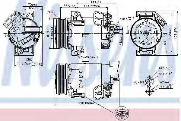 Компрессор кондиционера для OPEL ASTRA(L08, L35, L48, L67, L69, L70) <b>NISSENS 89216</b> - изображение