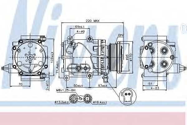 Компрессор кондиционера для FORD MONDEO(B4Y,B5Y,BWY) <b>NISSENS 89228</b> - изображение