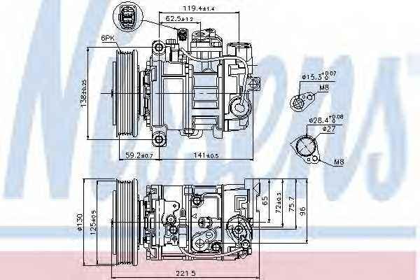 Компрессор кондиционера для AUDI A4(8HE, B6, B7,8EC,8ED,8H7), A8(4E#) / LAMBORGHINI GALLARDO, GALLARDO SPYDER <b>NISSENS 89236</b> - изображение