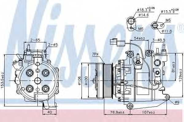Компрессор кондиционера для HONDA CIVIC(FA, FK,FD,FN), FR(BE) <b>NISSENS 89246</b> - изображение