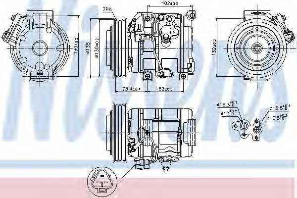 Компрессор кондиционера для TOYOTA RAV 4(ACA2#, XA2#, ZCA2#,CLA2#) <b>NISSENS 89250</b> - изображение
