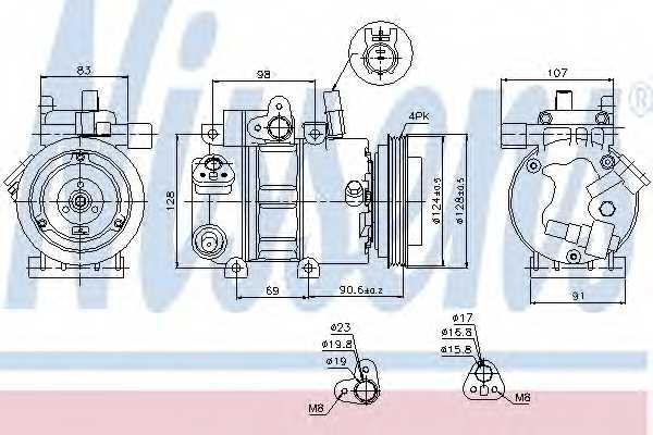 Компрессор кондиционера для HYUNDAI ELANTRA(HD), i30(FD), i30 CW(FD) / KIA CEED(ED), PRO CEED(ED) <b>NISSENS 89273</b> - изображение