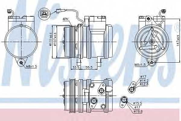 Компрессор кондиционера для DAEWOO MATIZ(KLYA) <b>NISSENS 89275</b> - изображение