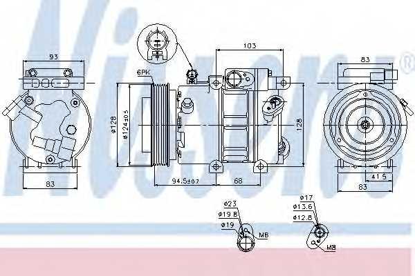 Компрессор кондиционера для HYUNDAI i30(FD), i30 CW(FD) / KIA CEED(ED), PRO CEED(ED) <b>NISSENS 89285</b> - изображение