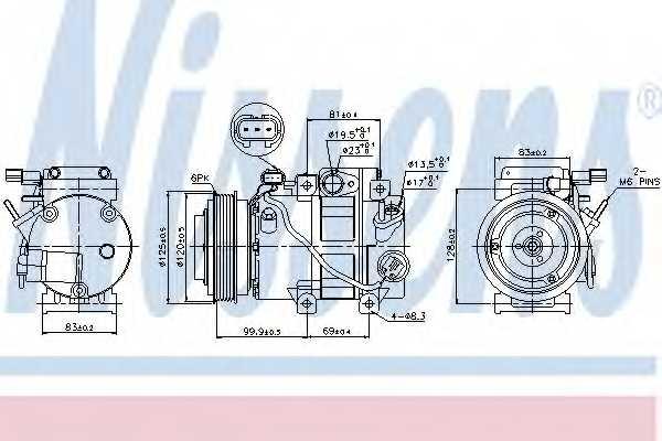 Компрессор кондиционера для HYUNDAI ix35(EL, ELH,LM) / KIA SPORTAGE(SL) <b>NISSENS 89305</b> - изображение