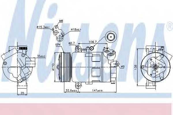 Компрессор кондиционера NISSENS 89307 - изображение