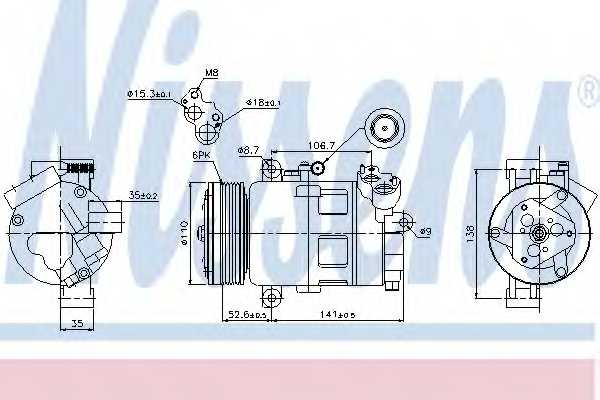 Компрессор кондиционера для BMW 3(E46), X3(E83), Z4(E85) <b>NISSENS 89307</b> - изображение