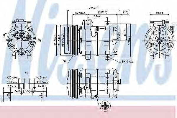 Компрессор кондиционера для VOLVO C70, S70(LS), V70(LV), XC70 CROSS COUNTRY <b>NISSENS 89317</b> - изображение