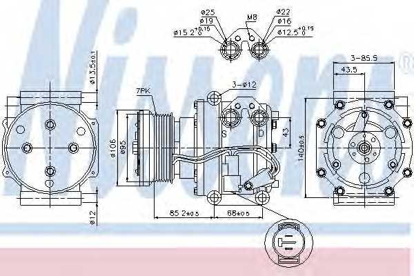 Компрессор кондиционера NISSENS 89331 - изображение