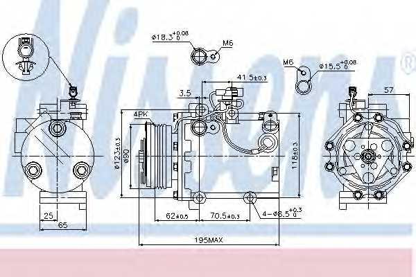 Компрессор кондиционера для FIAT SEDICI(FY#) / SUZUKI SWIFT(EZ,MZ), SX4(GY,EY,GY) <b>NISSENS 89349</b> - изображение