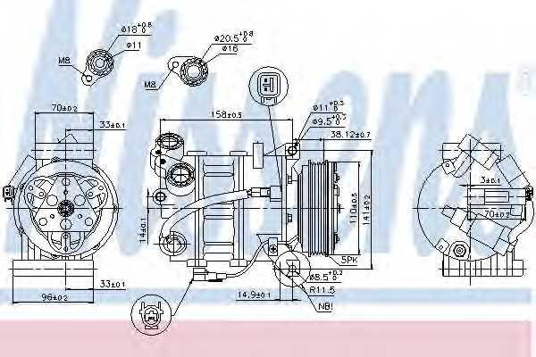 Компрессор кондиционера для FORD MONDEO(BA7), S-MAX(WA6) / VOLVO S60, S80(AS), V60, V70(BW), XC60, XC70 <b>NISSENS 89350</b> - изображение