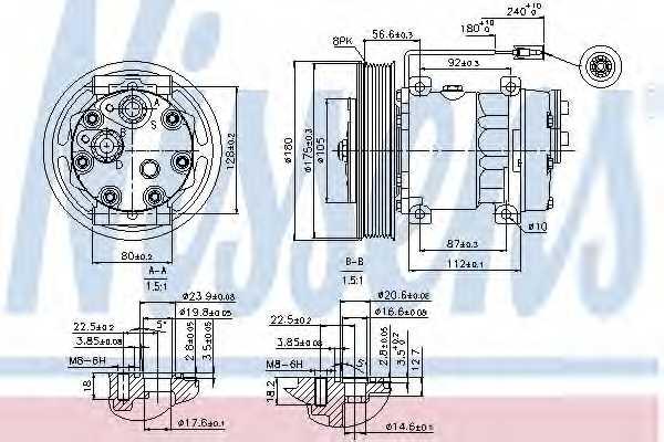 Компрессор кондиционера для RENAULT TRUCKS C-Serie, K-Serie, T-Serie / VOLVO FH, FH 16, FM <b>NISSENS 89353</b> - изображение