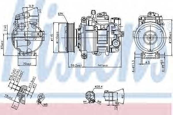 Компрессор кондиционера для AUDI A4(8HE, B6, B7,8E2,8E5,8EC,8ED,8H7) <b>NISSENS 89384</b> - изображение