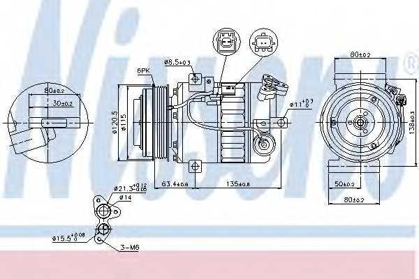 Компрессор кондиционера для NISSAN X-TRAIL(T31) / RENAULT LAGUNA(BT0/1,KT0/1) <b>NISSENS 89394</b> - изображение