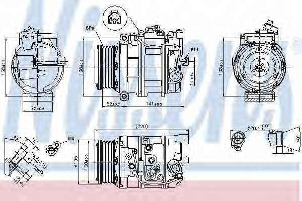 Компрессор кондиционера для MERCEDES GL(X164), M(W164), R(V251,W251), S(W221) <b>NISSENS 89412</b> - изображение