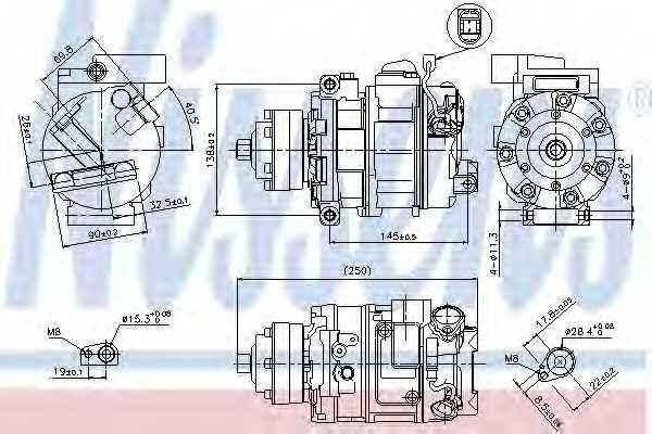 Компрессор кондиционера для AUDI A4, A6, A8, ALLROAD, Q7, R8, R8 Spyder / LAMBORGHINI AVENTADOR, GALLARDO, HURACAN / VW TOUAREG <b>NISSENS 89418</b> - изображение