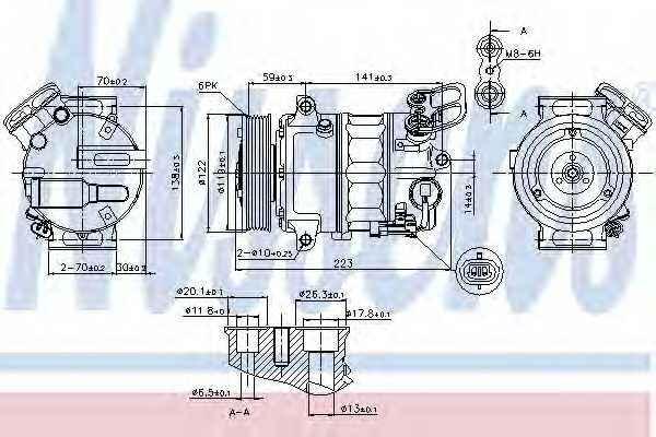 Компрессор кондиционера для OPEL INSIGNIA <b>NISSENS 89420</b> - изображение