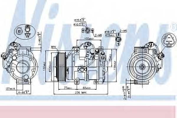 Компрессор кондиционера для LEXUS LX / TOYOTA LAND CRUISER, LAND CRUISER 200 <b>NISSENS 89511</b> - изображение