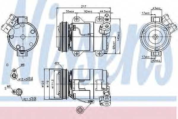 Компрессор кондиционера для SUZUKI GRAND VITARA(FT) <b>NISSENS 89519</b> - изображение
