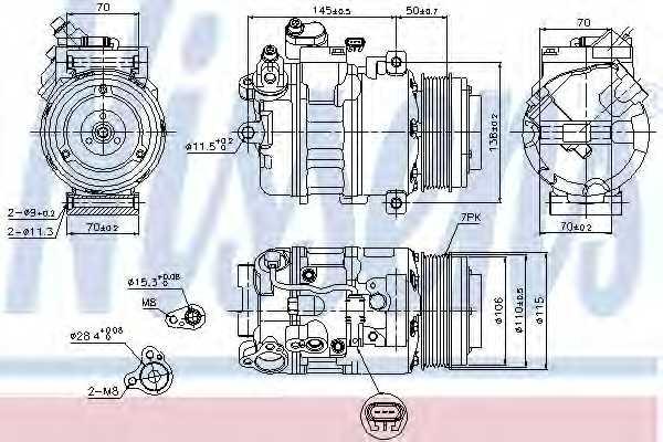 Компрессор кондиционера для BMW 5(F18,F07,F10,F11), 7(F02, F03, F04,F01), X5(E70), X6(E72,E71) <b>NISSENS 89574</b> - изображение