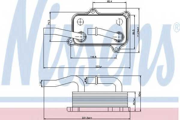 Масляный радиатор масла двигателя NISSENS 90599 - изображение