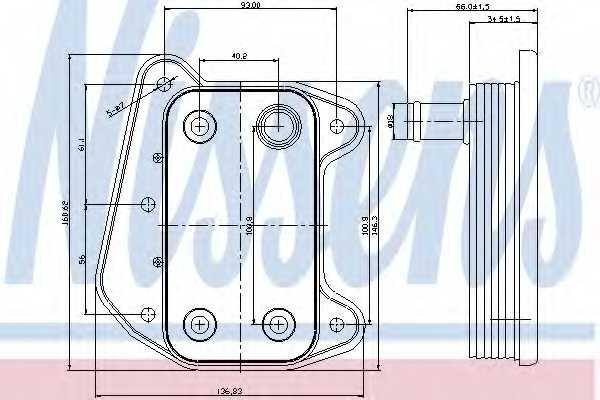 Масляный радиатор масла двигателя NISSENS 90622 - изображение