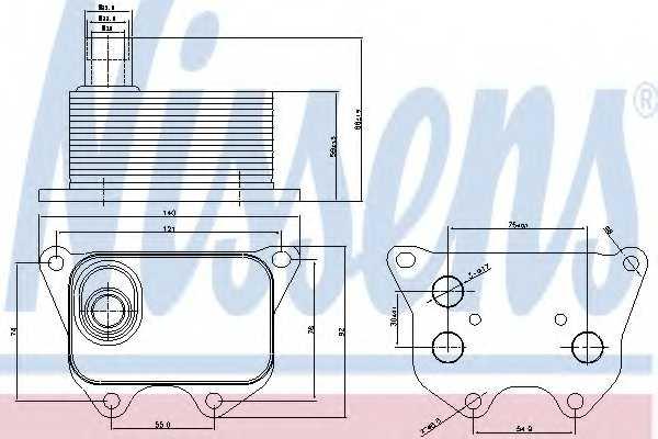Масляный радиатор масла двигателя NISSENS 90659 - изображение