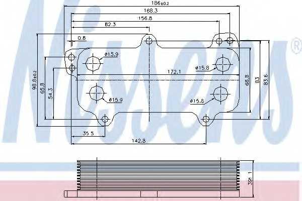 Масляный радиатор масла двигателя NISSENS 90684 - изображение