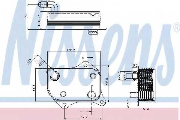 Масляный радиатор масла двигателя NISSENS 90711 - изображение