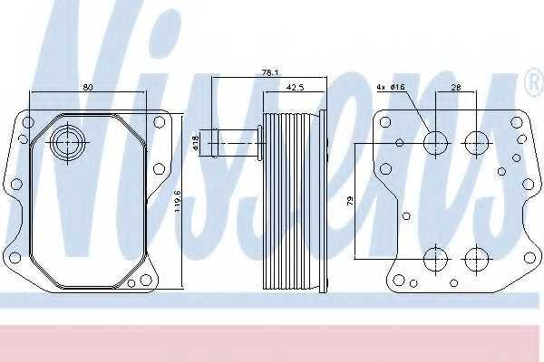 Масляный радиатор масла двигателя NISSENS 90723 - изображение