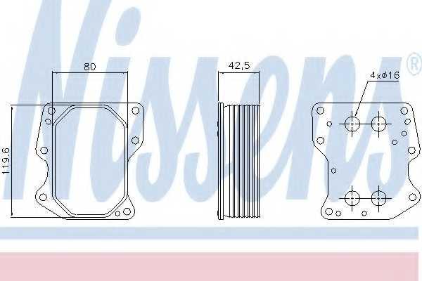 Масляный радиатор масла двигателя NISSENS 90752 - изображение