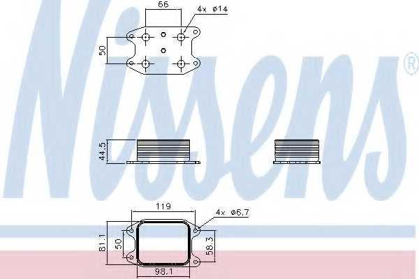 Масляный радиатор масла двигателя NISSENS 90810 - изображение