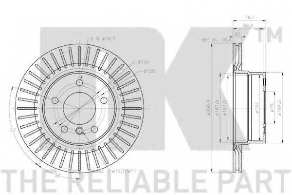 Тормозной диск NK 2015114 - изображение 2