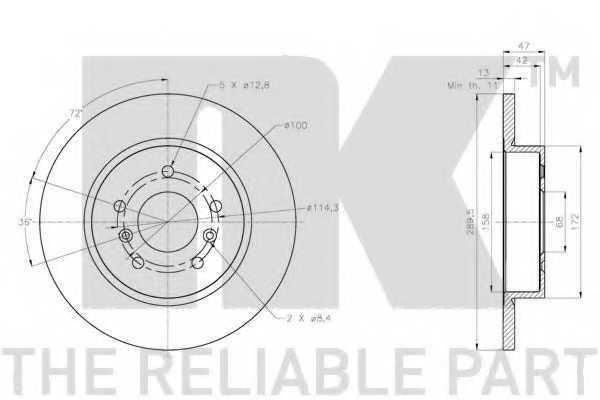 Тормозной диск NK 202291 - изображение 1