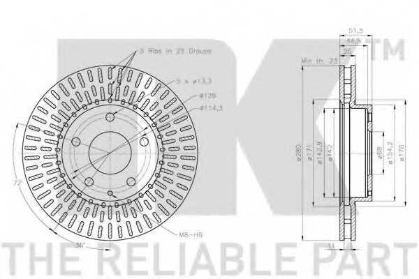 Тормозной диск NK 203281 - изображение 2